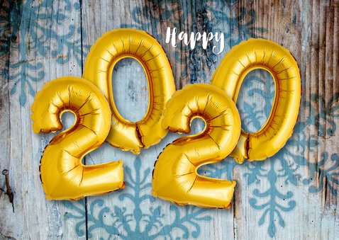 Kerstkaart hout ballonnen xmas goud  2