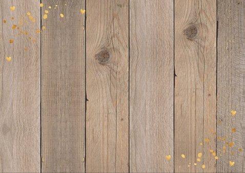 Kerstkaart hout donker confetti goud foto 2