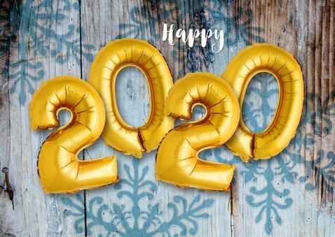 Kerstkaart hout xmas 2020 ballonnen goud 2