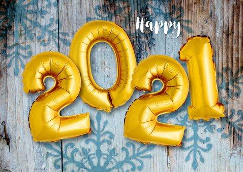 Kerstkaart hout xmas 2021 ballonnen goud 2