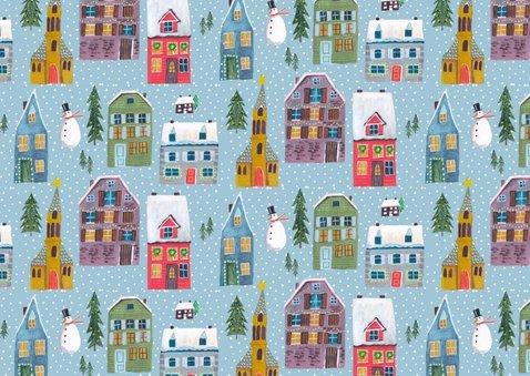 Kerstkaart huisjes rij 3 foto collage 2