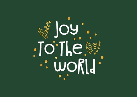 Kerstkaart 'joy to the world' goudlook met foto's 2
