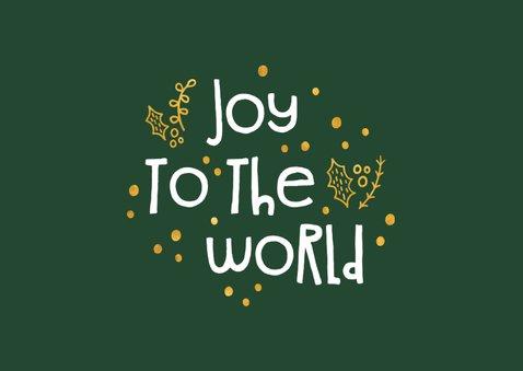 Kerstkaart 'joy to the world' goudlook met foto's 2