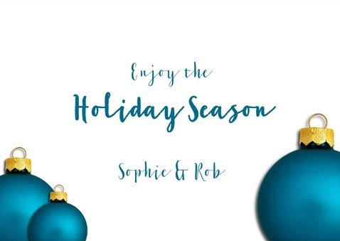Kerstkaart kerstbal retro blauw 2019 3