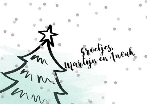 Kerstkaart kerstboom confetti aquarel mint 3