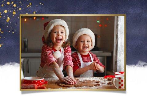 Kerstkaart kerstknuffel met gouden hart en 2 eigen foto's 2