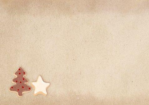 Kerstkaart kerstkoekjes fotocollage Achterkant