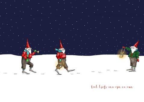 Kerstkaart - kerstmannetjes in de sneeuw 3