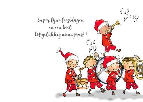 Kerstkaart kinderen fanfare 3