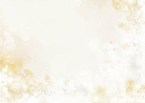 Kerstkaart klassiek kerststuk goud groen en foto Achterkant