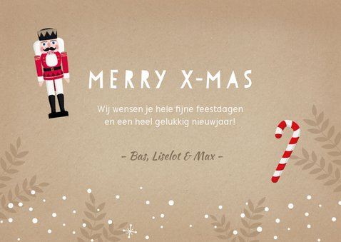 Kerstkaart kraft met illustratie van een notenkraker en foto 3