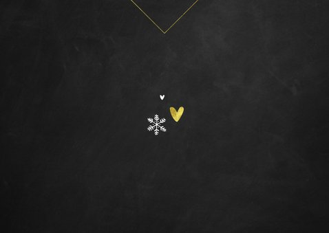 Kerstkaart krijt goud fotokaart hartjes sneeuwvlokken Achterkant