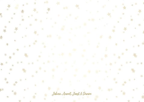 Kerstkaart licht fotocollage goudlook met sterren 3