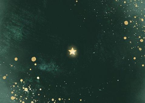 Kerstkaart lichtpuntjes met 2 foto's groen met spetters Achterkant