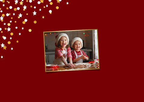 Kerstkaart liggend gouden sterren met confetti en foto 2