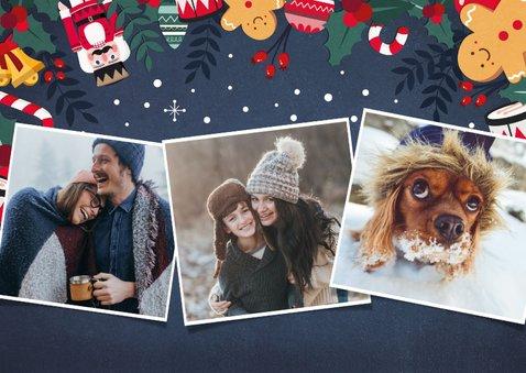 Kerstkaart liggend met eigen foto en kerstillustraties kader 2