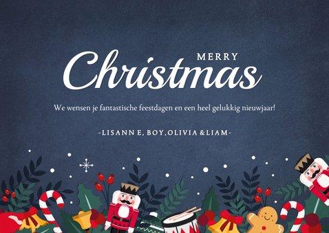 Kerstkaart liggend met eigen foto en kerstillustraties kader 3