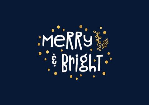 Kerstkaart 'merry & bright' goudlook met foto's 2