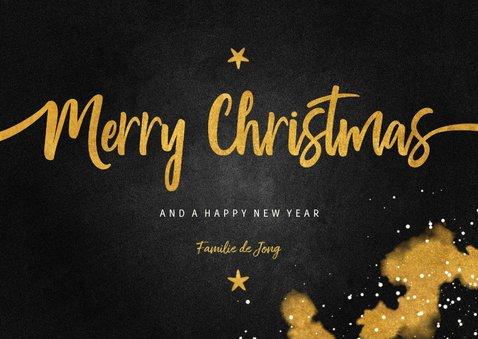 Kerstkaart Merry Christmas krijtbord met goud 3