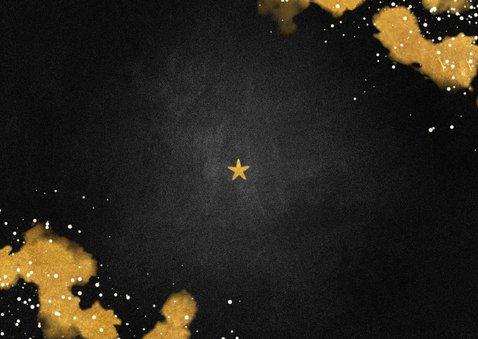 Kerstkaart Merry Christmas krijtbord met goud Achterkant