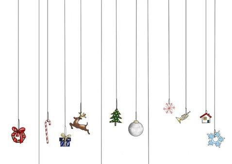 Kerstkaart - merry christmas met kersthangers 2