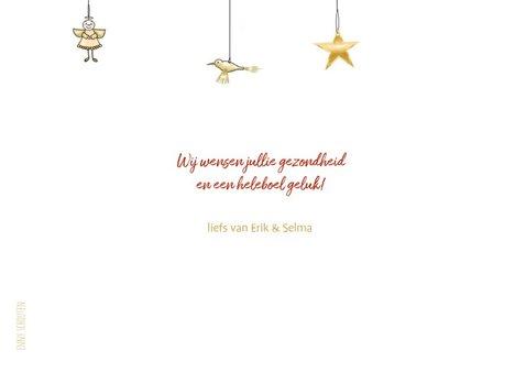 Kerstkaart - merry christmas met kersthangers 3