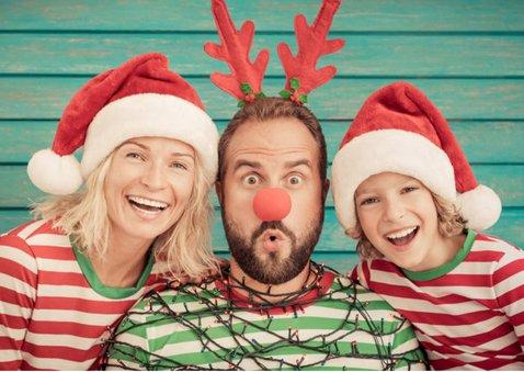 Kerstkaart met 3 eigen foto's en aanpasbare tekst 2