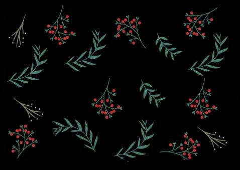 Kerstkaart met botanische bloemen 2