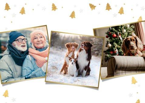 Kerstkaart met eigen foto van hond en pootafdrukjes in goud 2