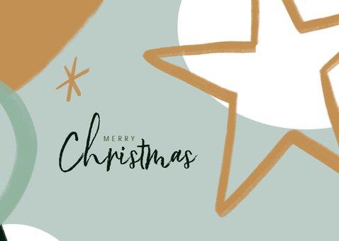 Kerstkaart met foto en abstracte illustratie en ster 2