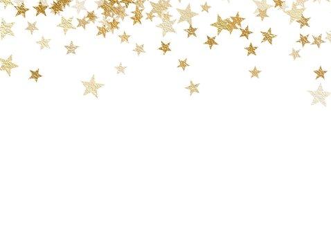 Kerstkaart met foto en sterren van goud 2