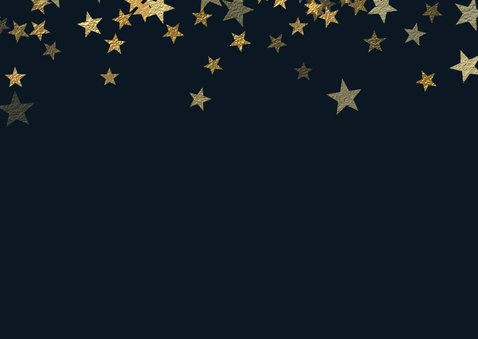 Kerstkaart met foto en sterren van goud Achterkant