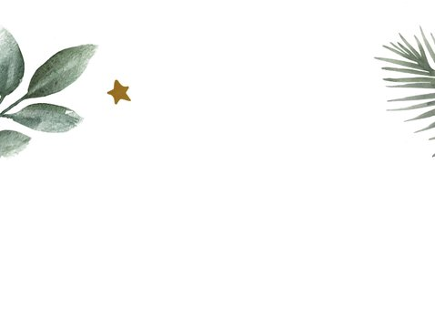 Kerstkaart met groene takjes en gouden sterren en tekst 2