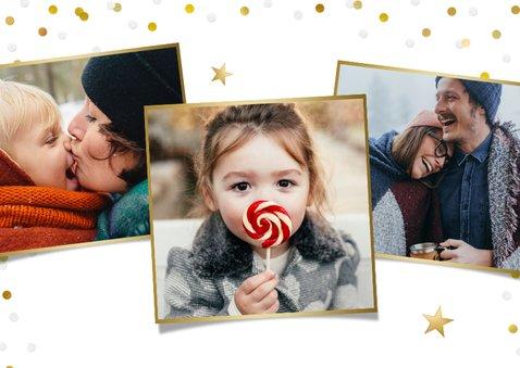 Kerstkaart met grote foto, merry christmas en confetti 2