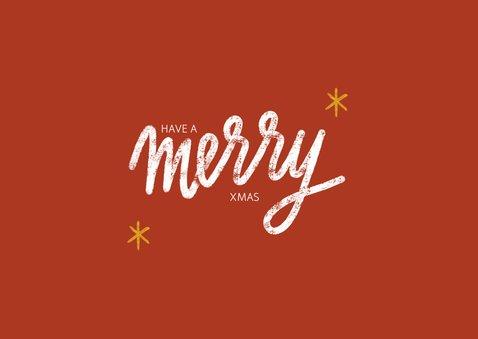 Kerstkaart met grote foto, sterren kader en merry xmas 2