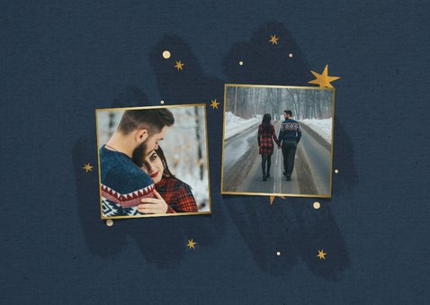 Kerstkaart met sterren, 2 foto's en fijne feestdagen 2