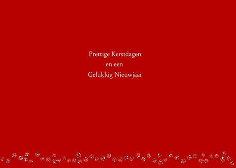 Kerstkaart met trendy rood in glitter strass steentjes 3
