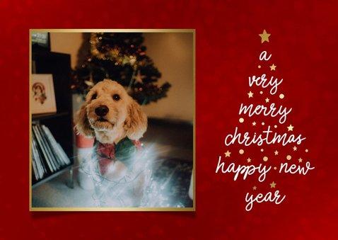 Kerstkaart met typografische kerstboom en foto 2