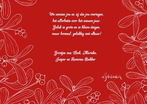 Kerstkaart mistletoe fotokaart met rode achtergrond 3