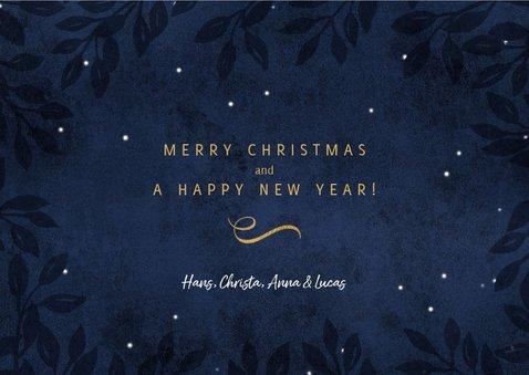 Kerstkaart Peace on earth goud donker blauw 3