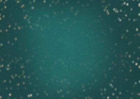 Kerstkaart petrol liggend gouden sterren - een gouden kerst Achterkant