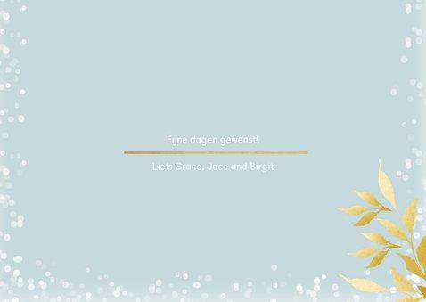 Kerstkaart rechthoek met foto en gouden takken 3