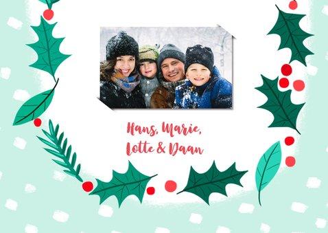 Kerstkaart Rendier met kerstkrans 3