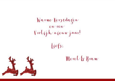 Kerstkaart rendier rood eigen foto 2020 3