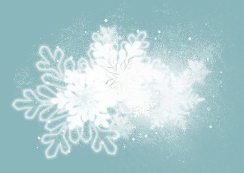 Kerstkaart retro blauw sneeuw SG 2