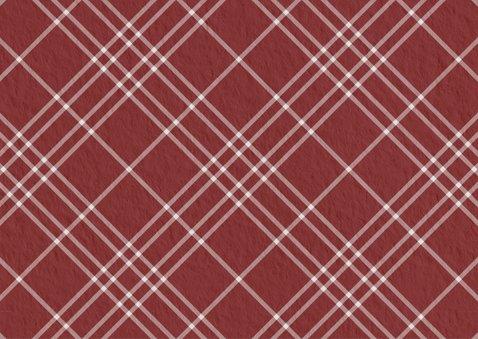 Kerstkaart rood ruitpatroon met foto 2