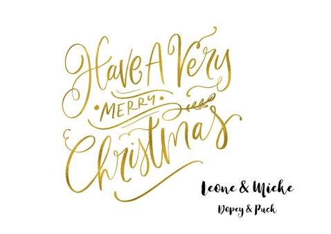 Kerstkaart Sending Warmest Wishes goudlook met eigen foto 3