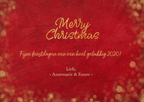 Kerstkaart sfeervol  met foto - rood met gouden confetti 3
