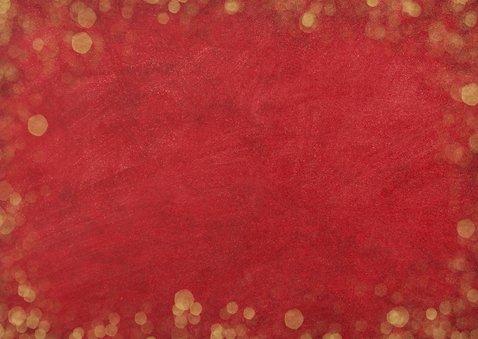 Kerstkaart sfeervol  met foto - rood met gouden confetti Achterkant