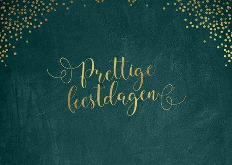 Kerstkaart sierlijke gouden letters donkergroen 2